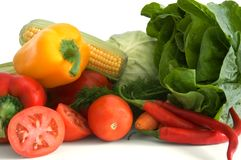Vegetables. Fresh vegetables isolated on white Royalty Free Stock Photography