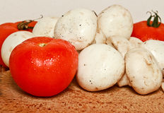 Fresh tomatoes and mushrooms Stock Photo