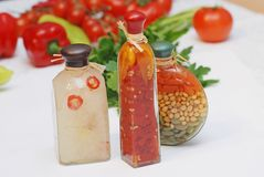 Vegetables. Vegetable arrangement in a bottle Stock Photos