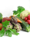 Vegetables. A cornucopia of vegetables coming from the market stock photos