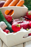 Vegetables. Fresh vegetables in the basket Royalty Free Stock Photos