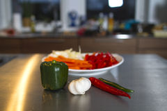 Vegetables. Fresh vegetables on kitchen table Royalty Free Stock Image