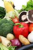 Vegetables. A selection of fresh, healthy vegetables.  Includes sweetcorn, curly lettuce, parsnip, Lebanese eggplant, spanish onions, kipfler potatoes, red Stock Photos