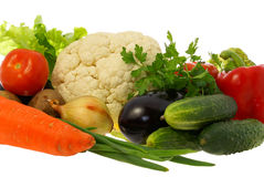 Vegetables. Diferent Vegetables on white background Royalty Free Stock Images