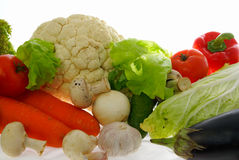 Vegetables. Different fresh Vegetables and mushrooms on white background Royalty Free Stock Photography