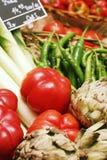 Vegetables. Basket full of fresh vegetables including tomato, leek and capsicum Royalty Free Stock Photo
