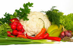 Vegetables. Different fresh Vegetables on white background Stock Photo