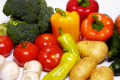 Vegetables. Various kinds of vegetables on white background stock photos