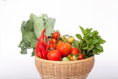 Vegetables. Mix Vegetables in the basket Stock Photos