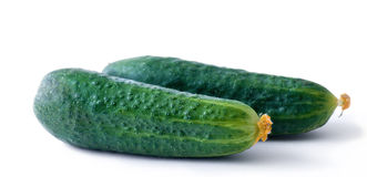 Vegetables_4. Image of ripe green cucumber isolated on a white background Royalty Free Stock Image