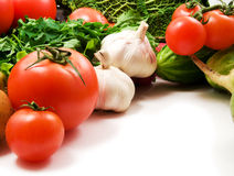 Vegetables. Cabbage, squash, broccoli, pepper, tomatoes, onion on white background royalty free stock images