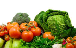 Vegetables. Cabbage, squash, broccoli, pepper, tomatoes, onion on white background royalty free stock photos