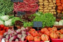 Vegetables. Market scene in Europe, selling vegetables Stock Photos