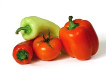 Vegetables. Isolated peppers and tomato Stock Photo