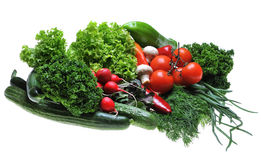 Vegetables. A lot fresh vegetables on white background stock image