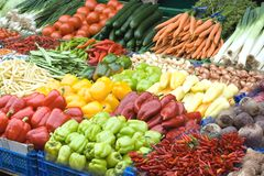 Vegetables. Fresh organic vegetables for sale at a market for farm products Royalty Free Stock Photos