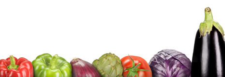Vegetables. Composition with vegetables on a white background (panoramic Stock Images