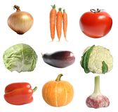 Vegetables. Nine different vegetables on a white background Royalty Free Stock Photography