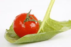 Vegetables. Very fresh spinach with tomato royalty free stock photo