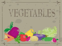 Vegetables. Grunge templates designs of menu Stock Photos