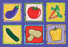 Vegetables. Vector illustration depicting six different types of vegetables with background Stock Image