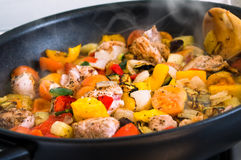 Vegetables. Cooked in a paella Royalty Free Stock Photo