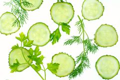 Vegetables. Cucumbers & herbs stock photography