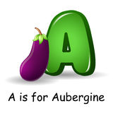 Vegetables alphabet: A is for Aubergine Royalty Free Stock Images