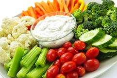 Vegetables And Dip Stock Photos