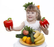 Vegetables And Fruit Of Children. Stock Photography