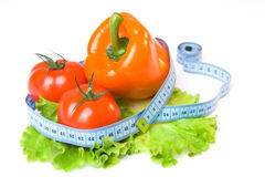 Vegetables And Measure Tape-04 Stock Photo