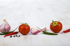 Vegetables And Spices In A Wooden Table. Royalty Free Stock Image