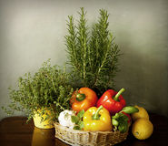 Vegetables and aromatic herbs in the kitchen Royalty Free Stock Photography