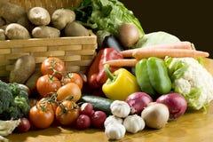 Vegetables around basket Stock Image