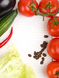 Vegetables around paper for notes Stock Images