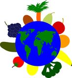 Vegetables around the world. A symbol of a vegan life form Royalty Free Illustration