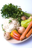 Vegetables as healthy food. Vegetables on a wooden plate, healthy food Stock Photography