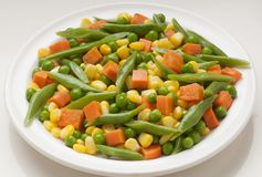 Vegetables. Assortment of vegetables, carrot, corn, green beans royalty free stock photography