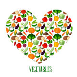 Vegetables background with heart Stock Images