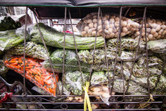 Vegetables bags transported by car It came on the market Royalty Free Stock Photos