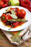Vegetables Baked. Baked vegetables food, peppers,tomatoes and carrots baked Royalty Free Stock Images