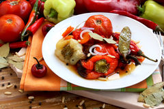Vegetables Baked. Baked vegetables food, peppers,tomatoes and carrots baked stock photography