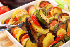 Vegetables baked with cheese Stock Photo