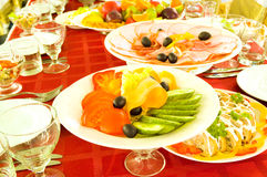 Vegetables on banquet table. Vegetables on the banquet table royalty free stock photography