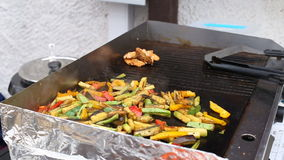 Vegetables barbecue grilled on charcoal stock footage