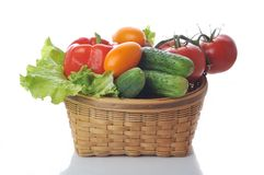 Vegetables in the basket. Close up Stock Photo