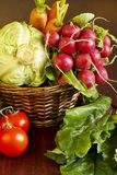 Vegetables in basket Stock Photos