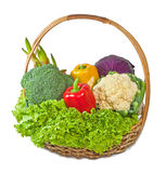 Vegetables in basket. On white Stock Images