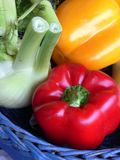 Vegetables in a basket. Colored composition of Vegetables in a basket Royalty Free Stock Images