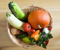 Vegetables in basket. Fresh vegetables in a wicker basket Stock Images